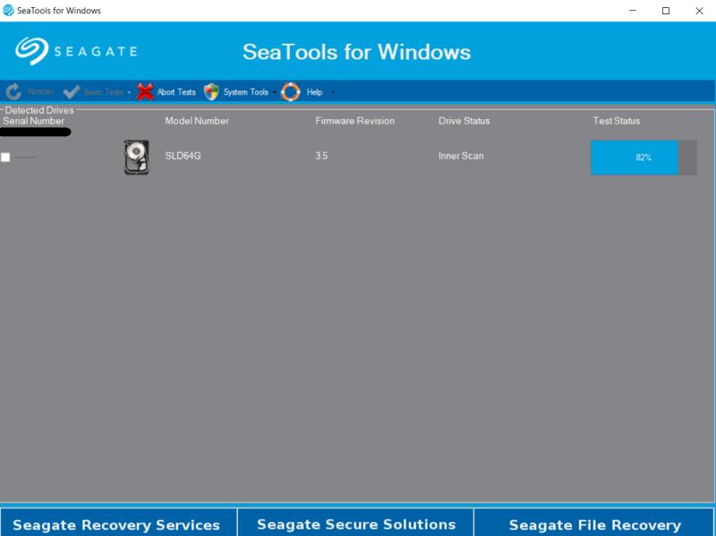 SeaTools testing process.