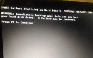 SMART failure error message, SMART failure predicted on hard disk drive