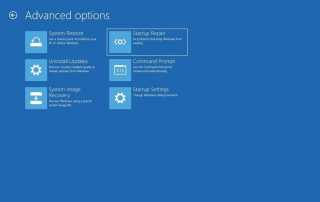Windows startup repair options