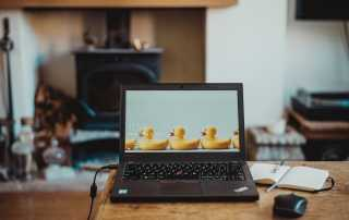 laptop plugged in with rubber duck wallpaper